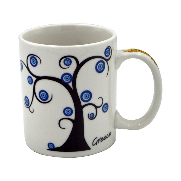 Mug with tree and evil eyes