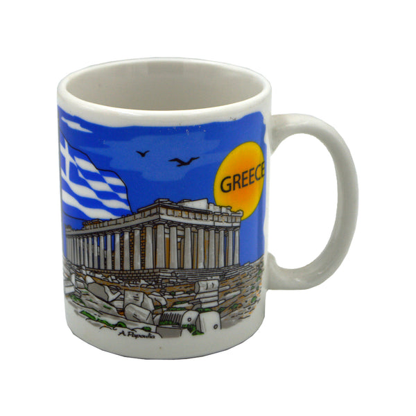 Mug with two sides, on one Acropolis and on the other greek tsoliades