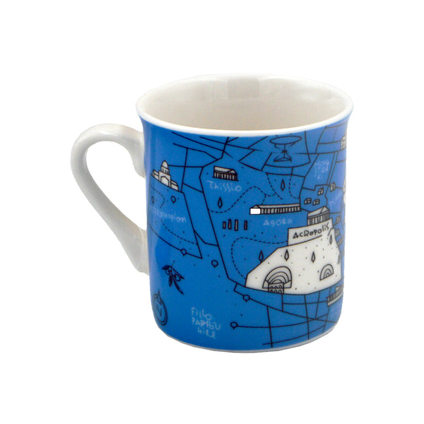 Mug with map of the historical center of Athens (blue) 10cm