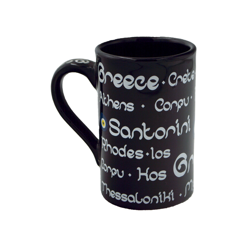 Mug with written names of Greek islands (black)