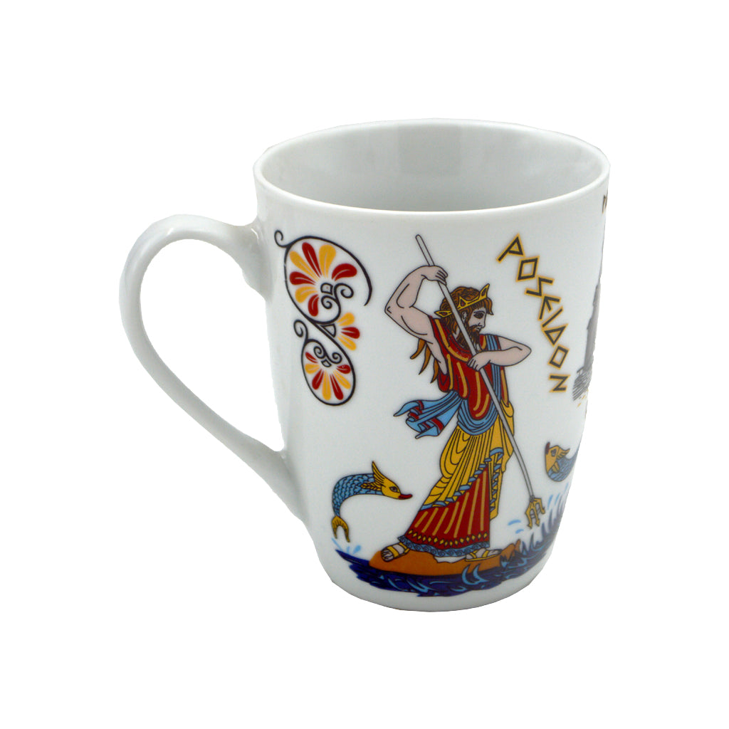 Mug with Poseidon,Athena and Parthenon (white) 10cm