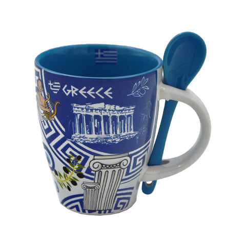 Mug with spoon, acropolis, evil eye, ''greece'' (blue) 10cm