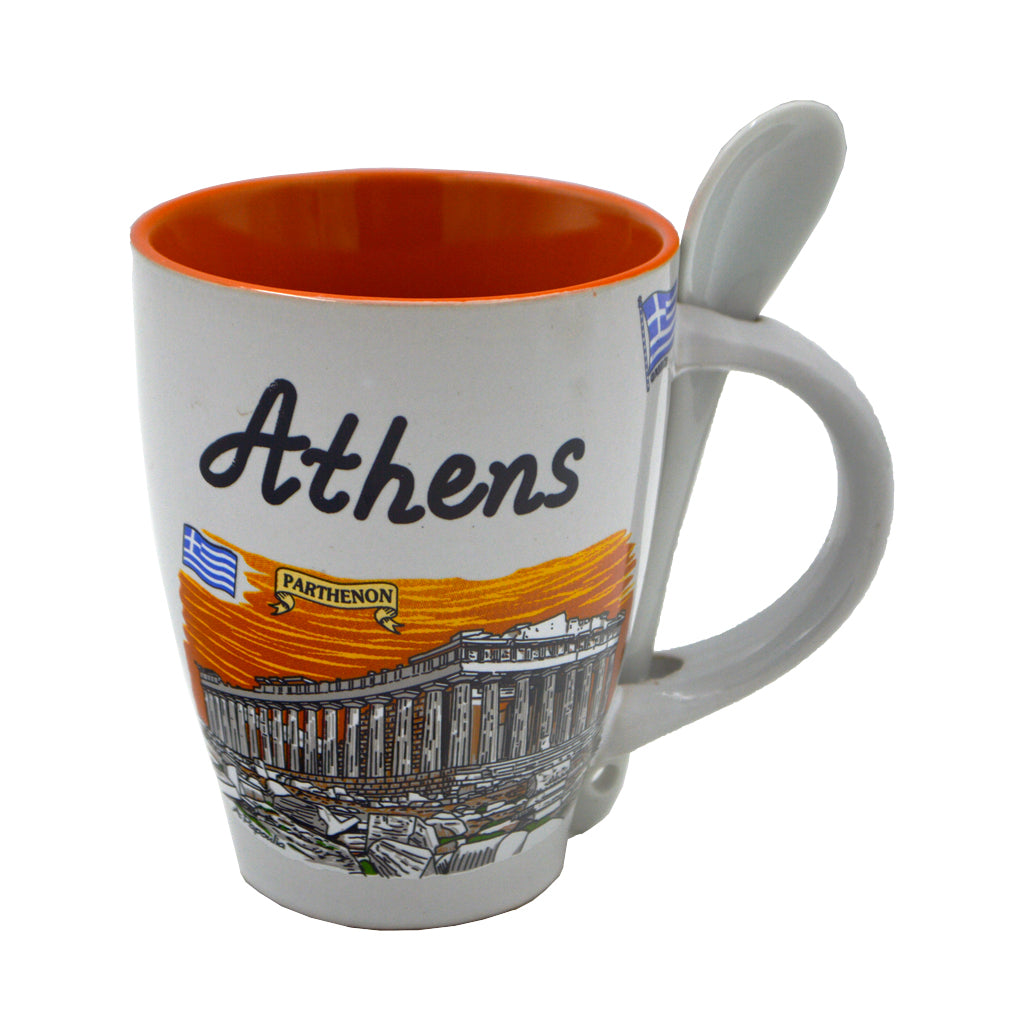 Mug with spoon and acropolis (orange) 10cm