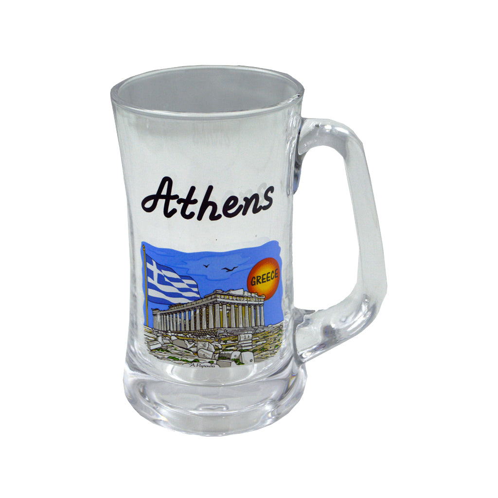 Glass with acropolis sticker (blue) 15cm