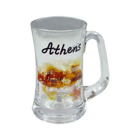 Glass with city sticker and athens logo (orange) 15cm