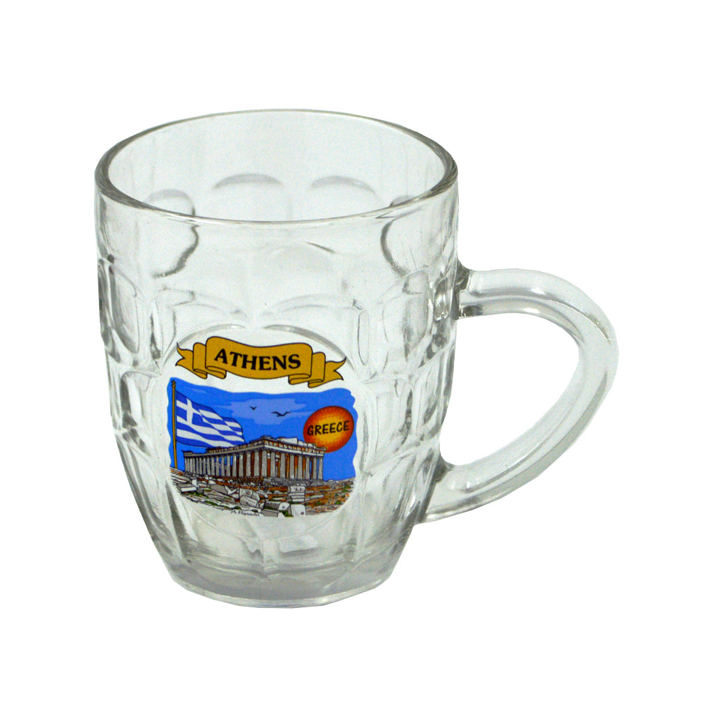 Glass with acropolis sticker (blue) 12cm