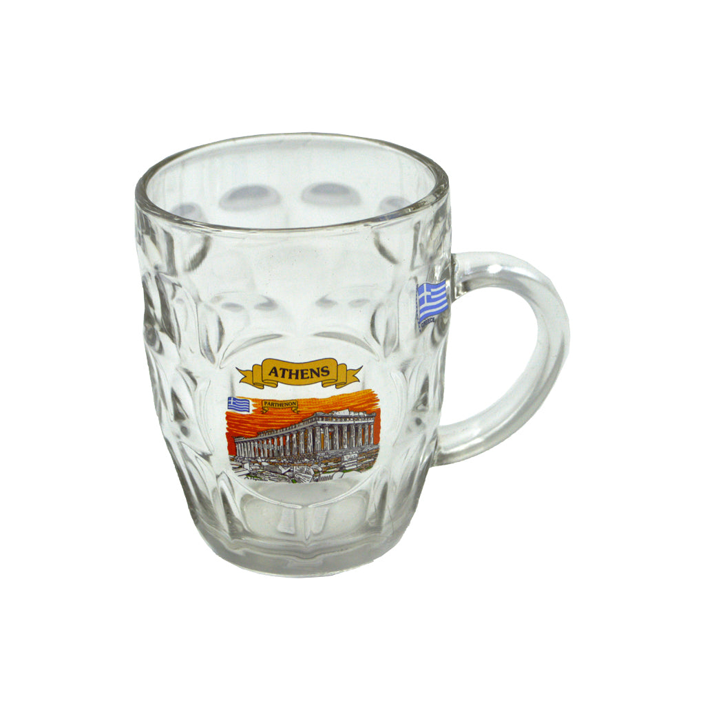 Glass with acropolis sticker (orange) 12cm