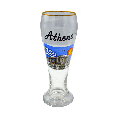 Glass with acropolis sticker (blue) 21cm