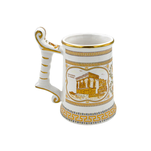Mug with Parthenon and Karyatides (orange-white) (Caryatis) 14cm