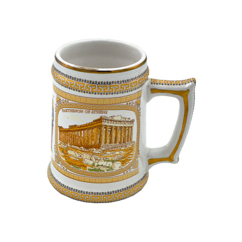 Mug with Athena and Poseidon and the Parthenon (orange-white) 13cm