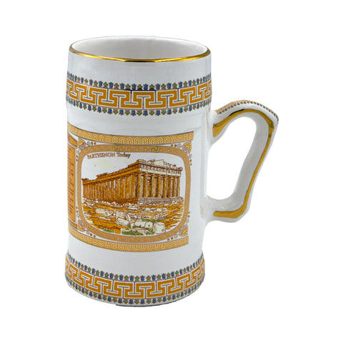 Mug with picture of the Parthenon now and then (orange-white) 18cm
