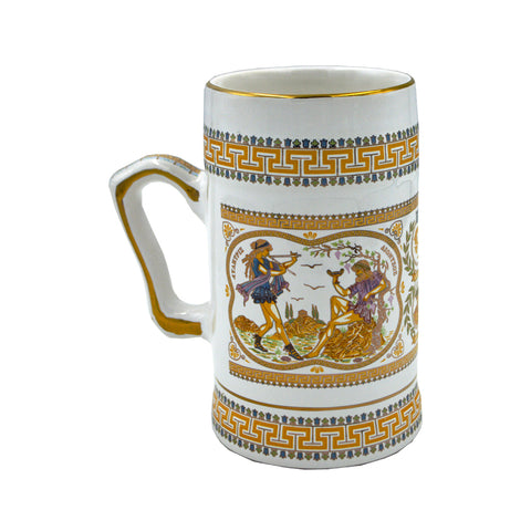Mug with Parthenon and Dionysus (orange-white) 18cm