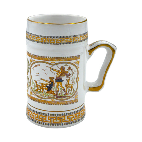 Mug with Parthenon and Artemis (orange-white) 18cm
