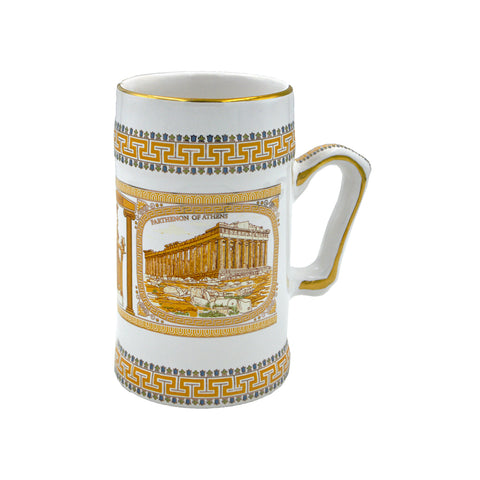 Mug with Parthenon of Athens. (orange-white) 18cm