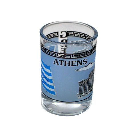 Shot with parthenon and greek flag (blue) 5cm