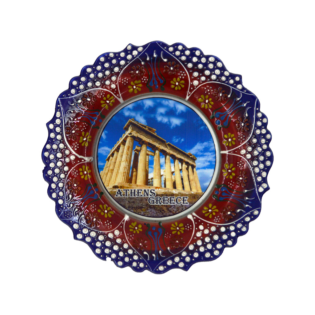 Ceramic plate with Parthenon and athens-greece logo (blue- brown) 24cm