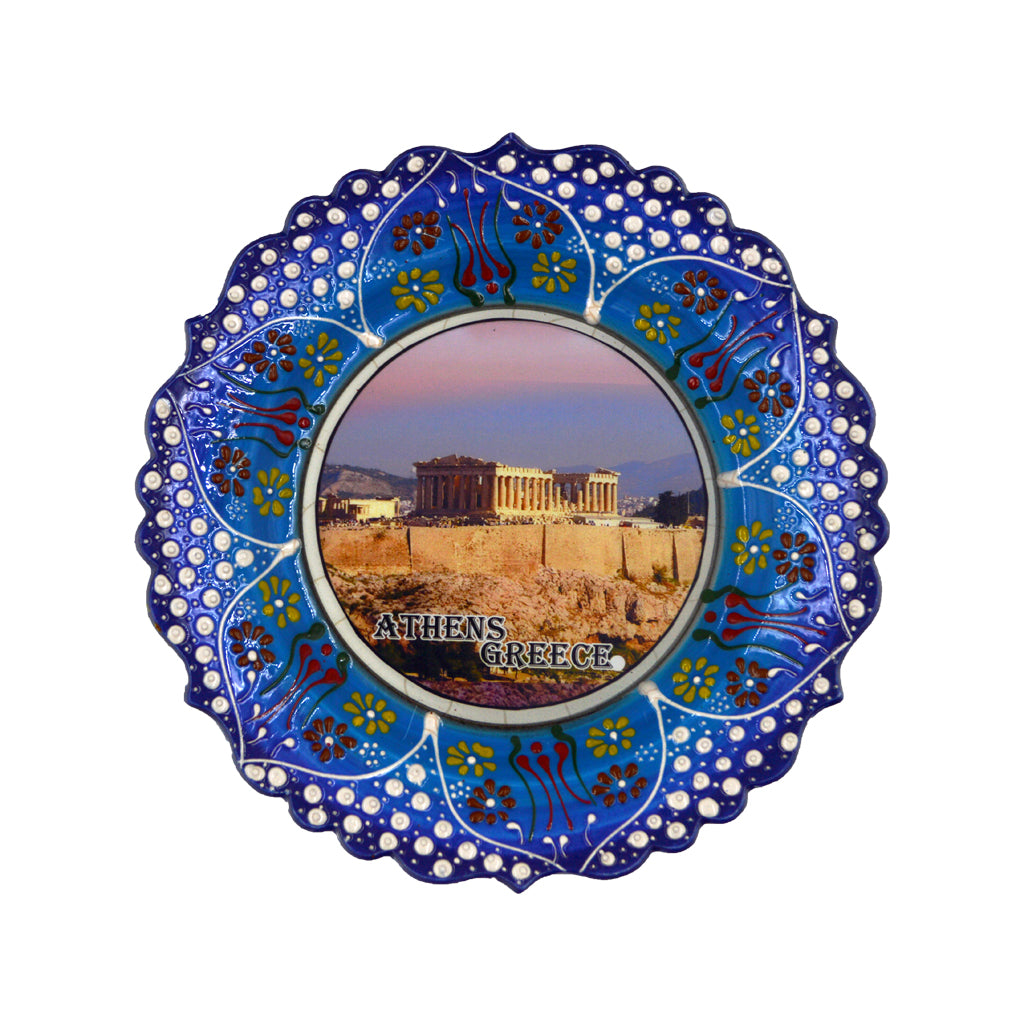Ceramic plate  with Parthenon (blue) 24cm