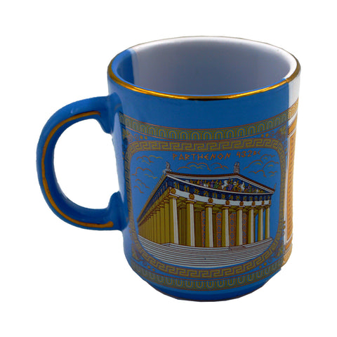 Mug with parthenon (half blue-half white) 10cm