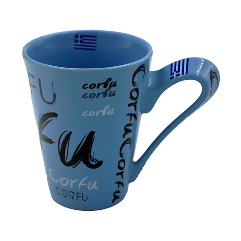 Mug with ''Corfu'' written (blue) 10cm