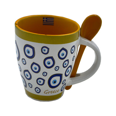 Mug with charm for the evil eye and spoon (white-green) 10cm