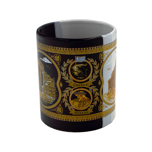 Mug  with Karyatides and Parthenon (half black-half white) (Caryatis) 10cm