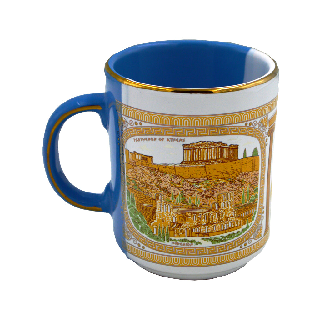 Mug with parthenon and athena (half blue-half white) 10cm