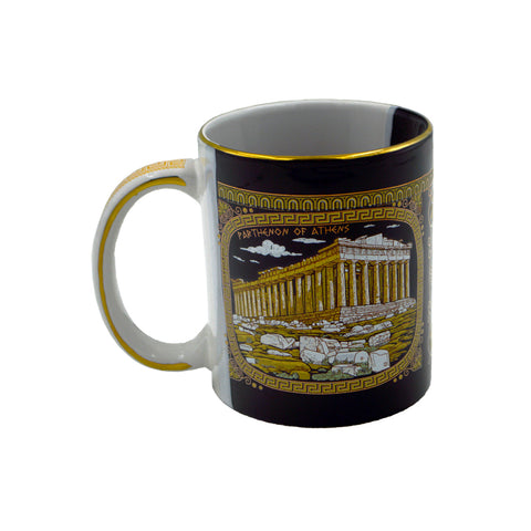 Mug with parthenon and evridiki with orfea (half black half white) (Eurydice) 10cm
