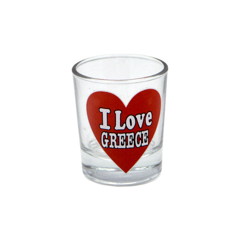 Shot '' I love Greece'' (red) 5cm