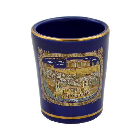Shot with parthenon and meandro (dark blue) 5cm