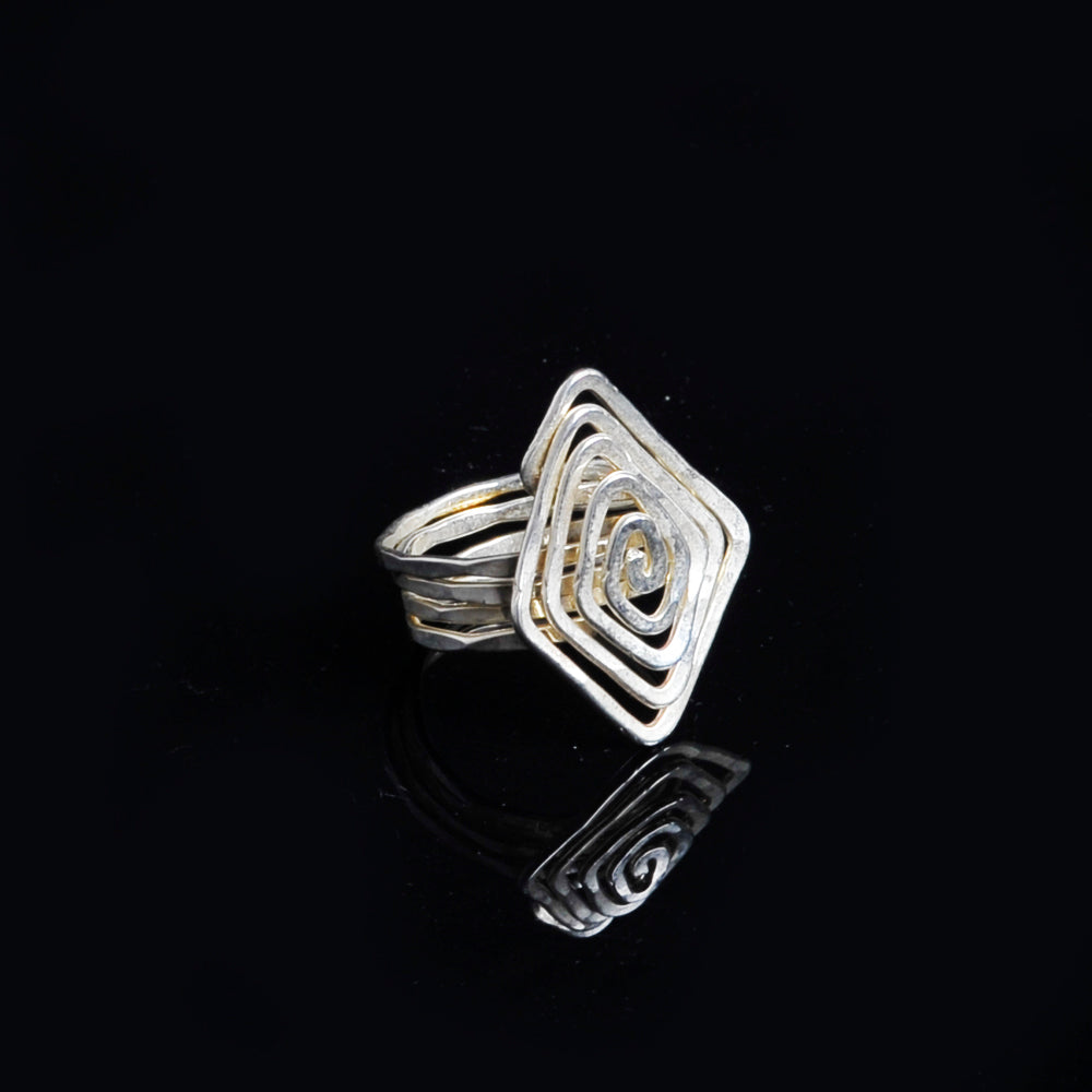 Silver plated ring meandros symbol of eternity