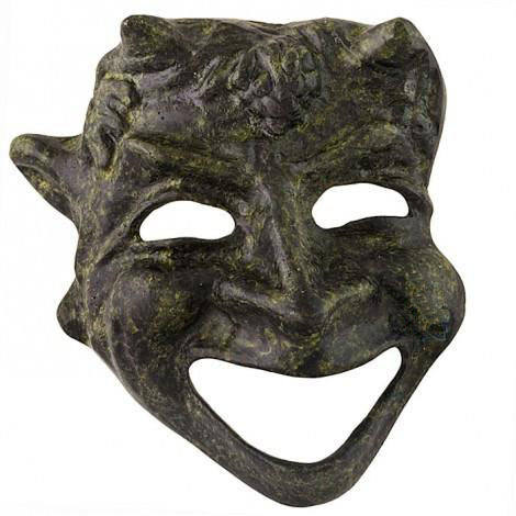 Athenian comedy mask 11cm (bronze natural oxydite)