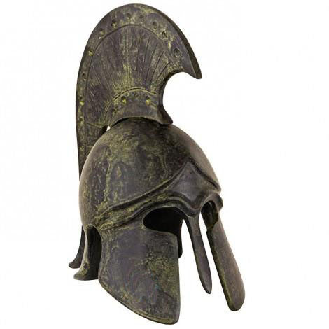 Corinthian helmet with short crest 14cm (bronze natural oxydite)