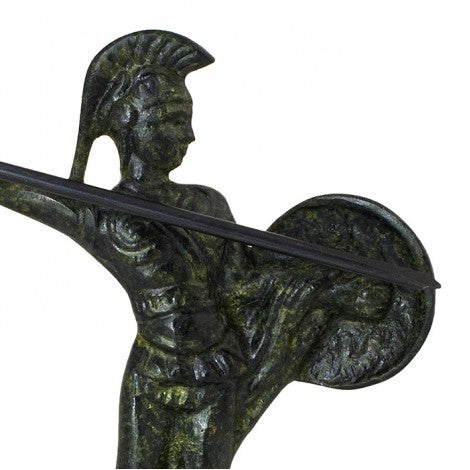 Achilles Greek hero with spear and shield 13cm (bronze natural oxydite)