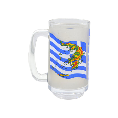 Mug for beer with greek flag sticker (Grey) 15cm