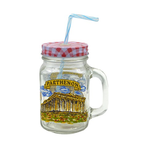 Mug ''Jar-shaped mug with straw and Parthenon'' (dark yellow)