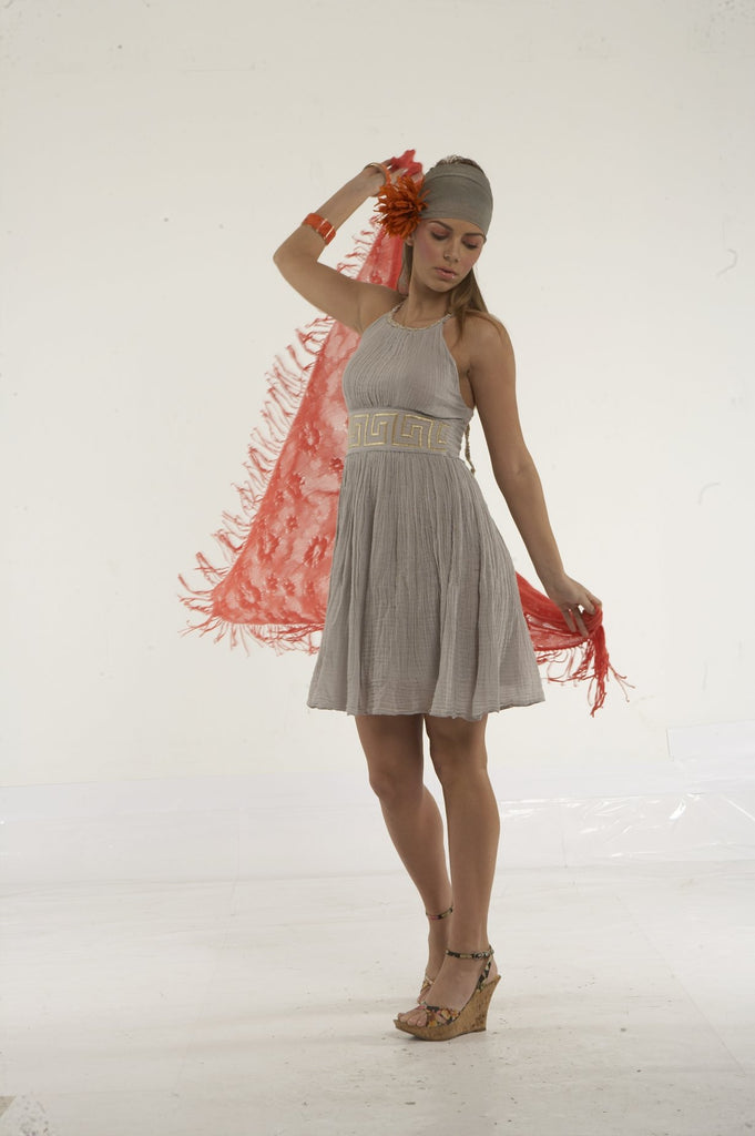 Mini dress from greek gauze with gold greek key embroidery (grey)