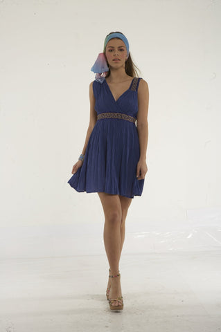 Short cheesecloth dress with greek key embroidery on one shoulder and on waist