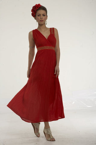 Long cheesecloth dress with greek key embroidery on one shoulder and on waist