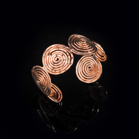 Pink gold plated bangle long life spiral