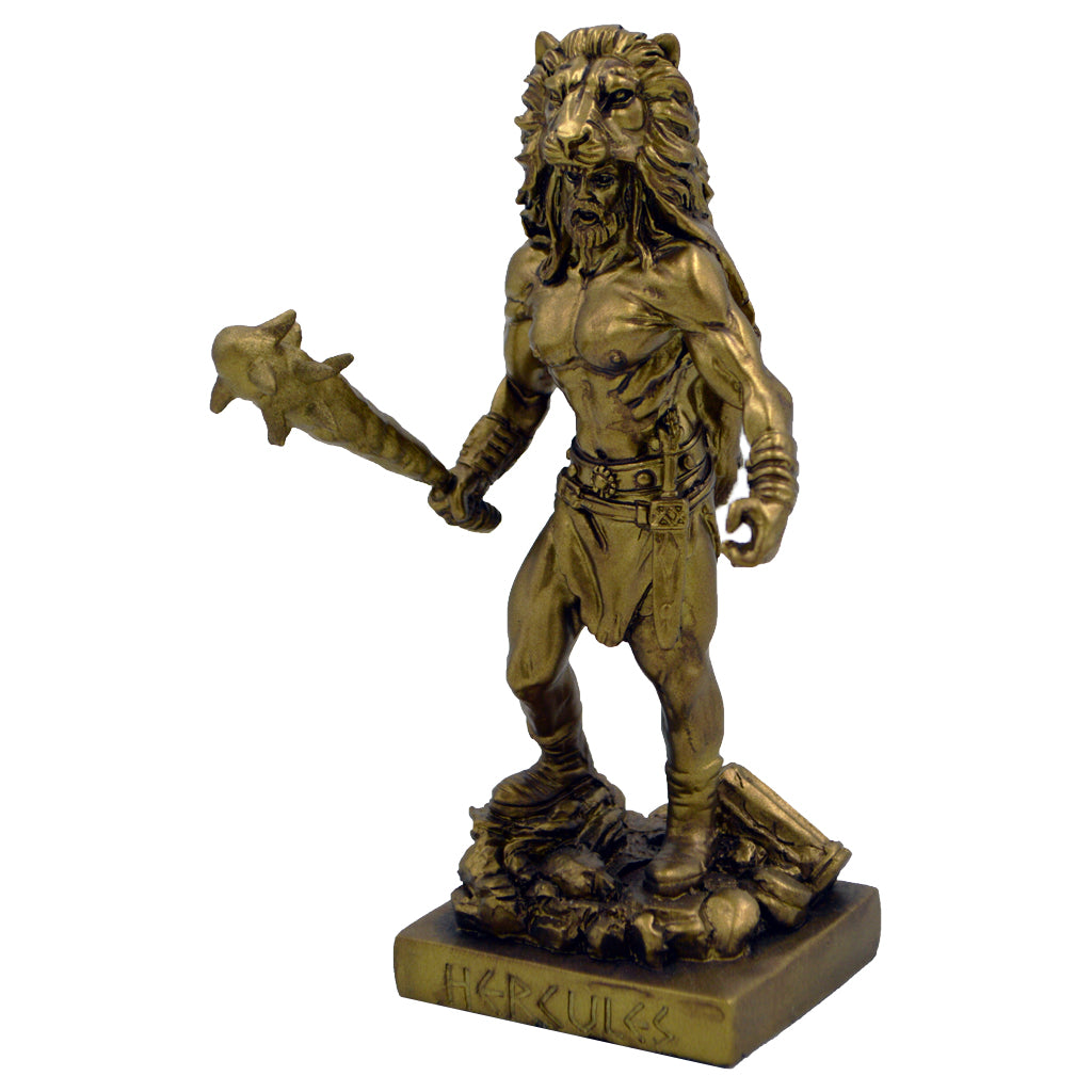 Hercules founder of the Olympic Games with nemean lion skin and war club 21cm