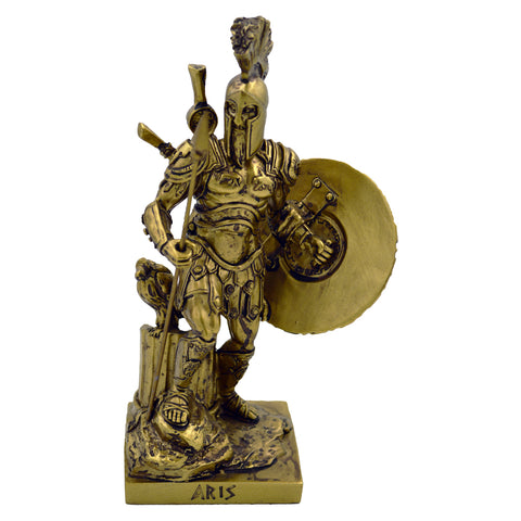 ares god of war with spear and shield