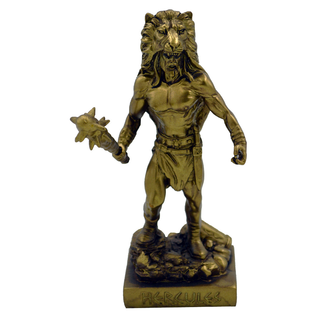 Hercules founder of the Olympic Games with nemean lion skin and war club