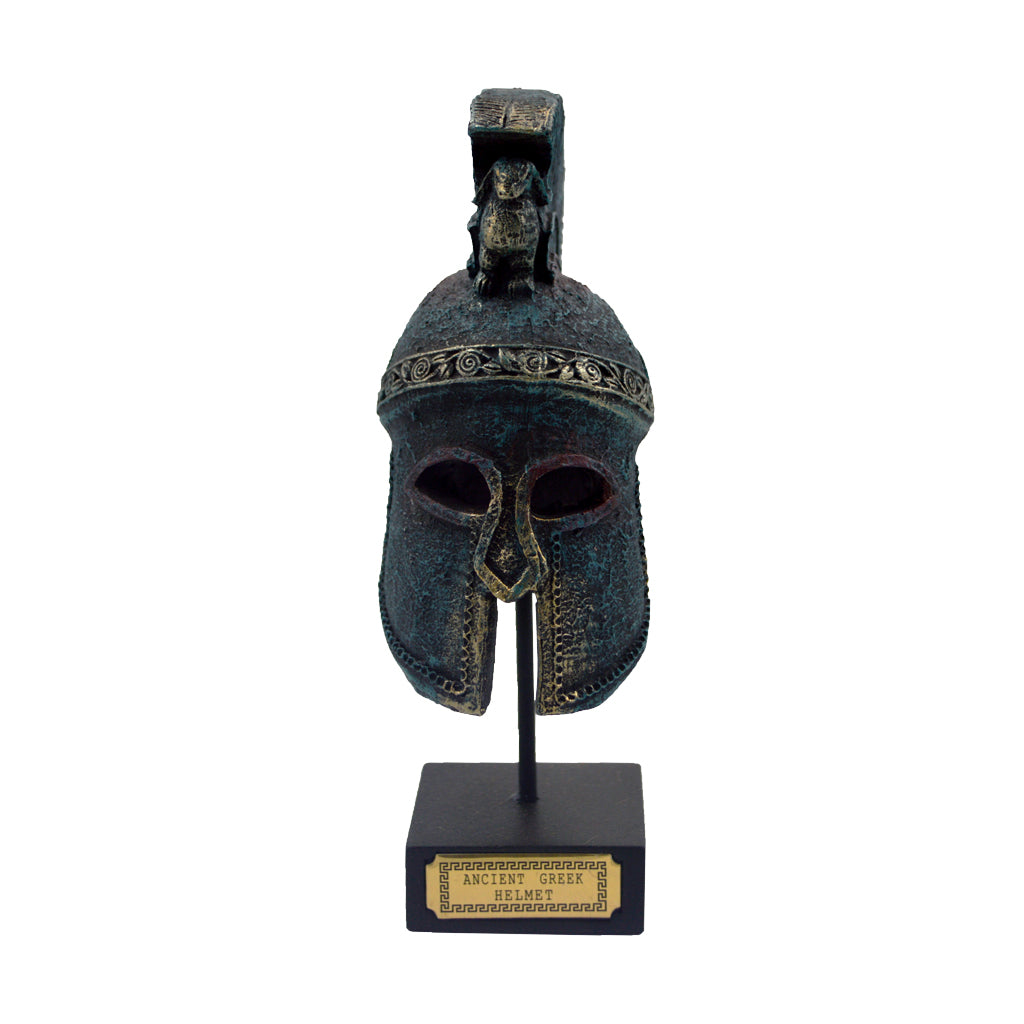 corinthian helmet on a base with ancient greek helmet and meandros on the plate (bronze natural oxydite) 18cm