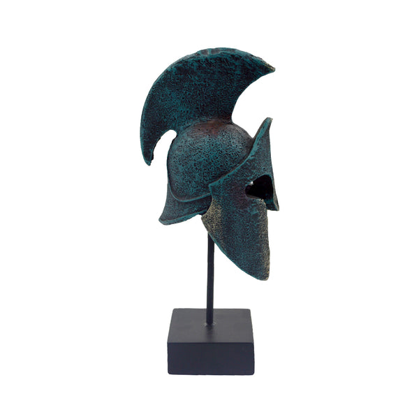 Spartan helmet on a base with ancient greek helmet and meandros on the plate (bronze natural oxydite) 18cm