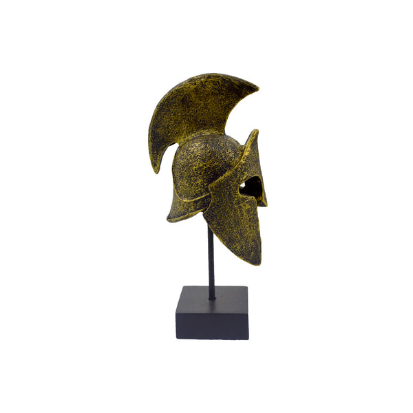 Spartan helmet on a base with ancient greek helmet and meandros on the plate (dark gold) 18cm
