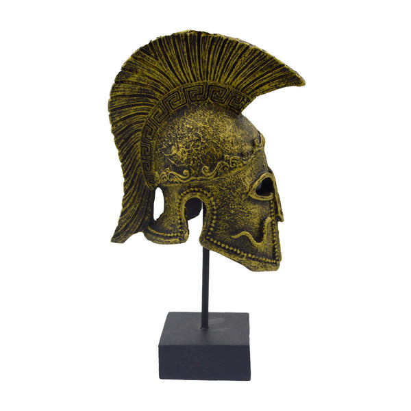 Athenian helmet on a base with ancient greek helmet and meandros on the plate (dark gold) 18cm