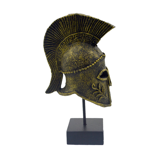 corinthian helmet on a base with ancient greek helmet and meandros on the plate (dark gold) 18cm