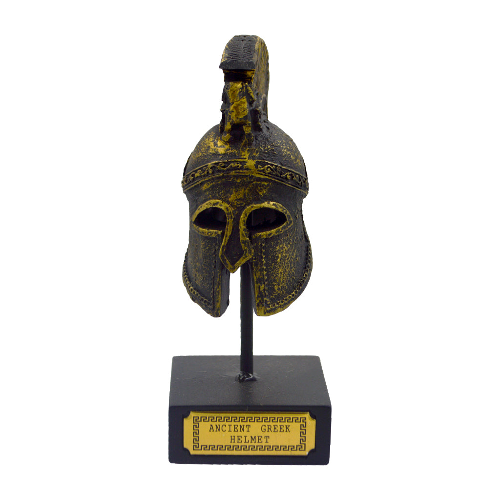 corinthian helmet on a base with ancient greek helmet and meandros on the plate (bronze natural oxydite) 14cm