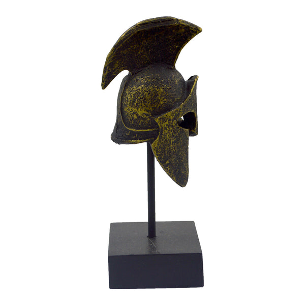 Spartan helmet on a base with ancient greek helmet and meandros on the plate (bronze natural oxydite). 14cm