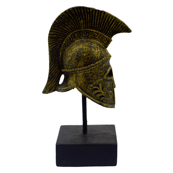 Corinthian helmet on a base with ancient greek helmet and meandros on the plate (gold) 14cm